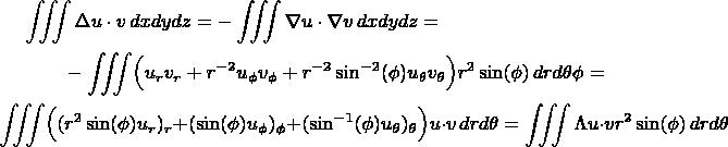 \begin{multline*}\iiint \Delta u\cdot v \,dxdydz = - \iiint \nabla u\cdot \nabla v \,dxdydz =\\  -\iiint \Bigl(u_r v_r + r^{-2} u_\phi v_\phi + r^{-2}\sin^{-2}(\phi) u_\theta v_\theta\Bigr) r^2 \sin (\phi)\,drd\theta \phi = \\ \iiint \Bigl( (r^2 \sin (\phi) u_r)_r +  (\sin (\phi)u_\phi )_\phi + (\sin^{-1}(\phi)u_\theta)_\theta\Bigr) u\cdot v\, drd\phid\theta =  \iiint \Lambda u\cdot v  r^2\sin(\phi)\,drd\phid\theta\end{multline*}